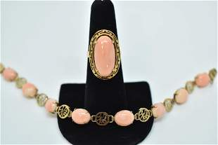 14KT & CORAL WOMENS COCKTAIL RING & BRACELET