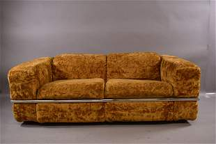 1960'S LOVE SEAT WITH CHROME METAL DECORATION