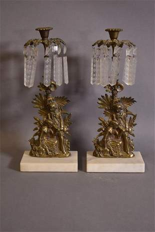 PR VICTORIAN CRYSTAL PRISM & IRON CANDLEHOLDERS