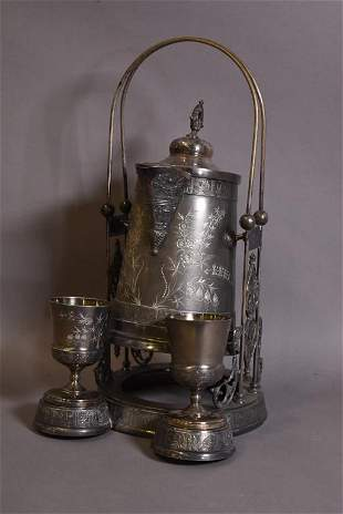 VICTORIAN SILVER PLATED PAIRPOINT TIPPING KETTLE