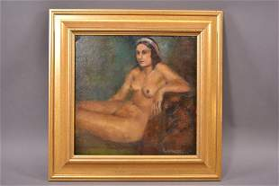 O/C MOUNTED ON BOARD NUDE PORTRAIT OF LADY
