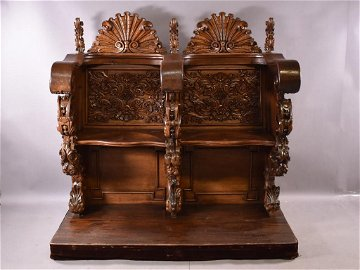 ANTIQUE HIGHLY CARVED ITALIAN DOUBLE BENCH
