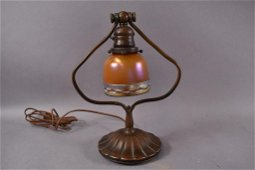 TIFFANY STUDIOS BRONZE BELL FORM DESK LAMP