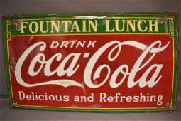 COCA COLA FOUNTAIN LUNCH PORCELAIN SIGN