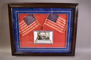 FRAMED 45 STAR SILK FLAGS FROM MISSION INN IN 1903