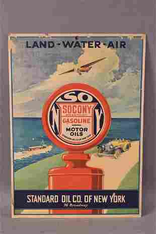 "STANDARD OIL CO ""LAND AIR WATER"" CARDBOARD SIGN"