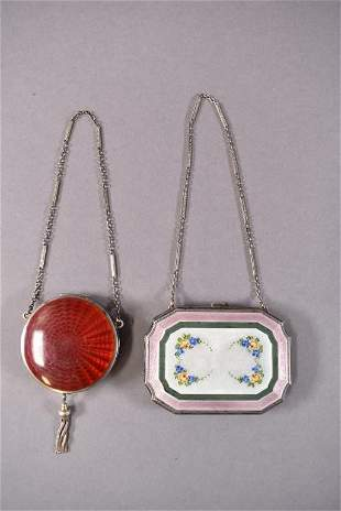 2 ENAMELED STERLING COMPACTS/PURSES