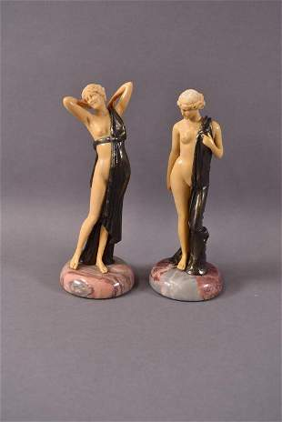 PR. FRENCH IVORINE STATUES ON MARBLE BASES