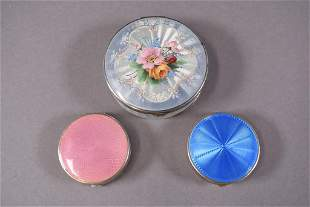 3 STERLING SILVER ENAMELED COMPACTS
