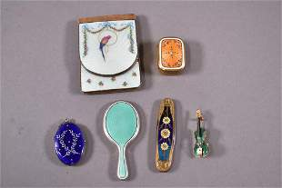 6 SMALL ENAMELED ITEMS