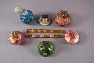 8 VICTORIAN GLASS ENAMELED PERFUMES