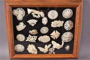 VICTORIAN MOTHER OF PEARL PINS IN SHADOWBOX