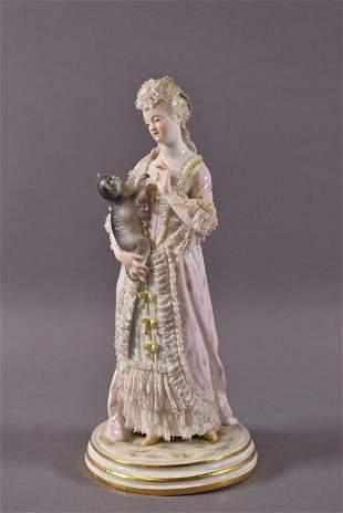 MEISSEN PORCELAIN LADY FIGURE WITH CAT