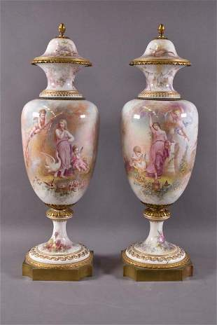 PAIR SEVRES BRONZE MOUNTED HAND PAINTED URNS