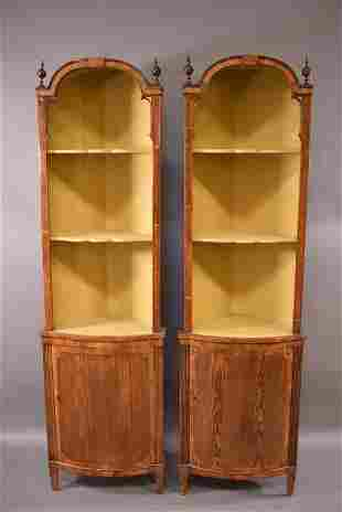 PAIR OF 19TH C. COUNTRY FRENCH CORNER CABINETS