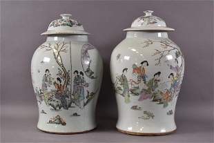 PAIR OF LARGE CHINESE PORCELAIN LIDDED GINGER JARS
