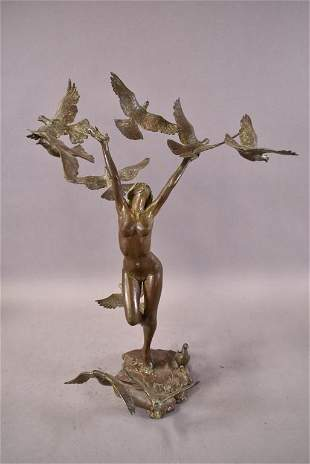 FEMALE NUDE BRONZE WITH BIRDS