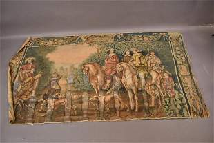 LARGE ANTIQUE UNFRAMED PAINTED CANVAS