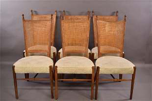 6 CANE BACK DINING CHAIRS BY PAUL MCCOBB