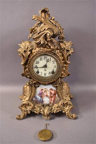 ANSONIA MANTLE CLOCK WITH PORCELAIN PLAQUE