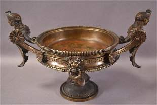 EGYPTIAN REVIVAL BRONZE COMPOTE