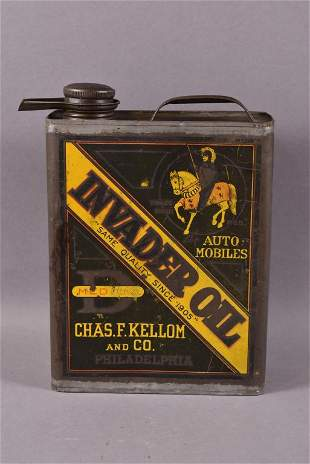 "Invader Oil ""D"" Automobiles One Gallon Can"