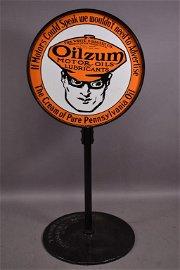 Oilzum Motor Oils & Lubricants Porcelain Sign TAC
