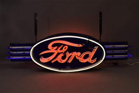 Small Ford Double Sided Oval Neon w/ Wings Sign