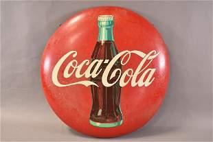 Coca-Cola w/ Bottle Metal Button Sign