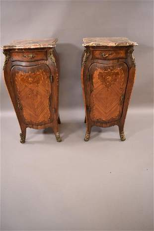 PAIR OF TALL FRENCH INLAID MARBLE TOP NIGHTSTANDS