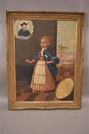 18TH CENTURY PORTRAIT OF GIRL OIL PAINTING