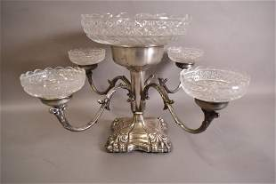 VICTORIAN SILVER PLATE AND GLASS EPERGNE