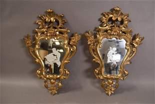PR. ITALIAN GOLD GILT WOOD CHERUB WALL MIRRORS