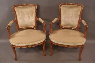 PR. PAINTED FINISH FRENCH STYLE PARLOR ARMCHAIRS