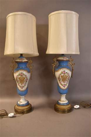 PAIR FRENCH STYLE PORCELAIN TABLE LAMPS