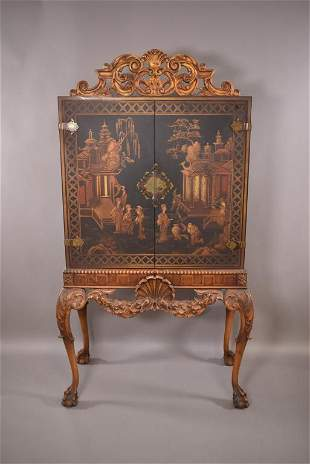 1920'S QUEEN ANNE CHINOISERIE CABINET