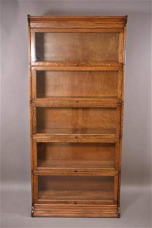 1900'S 5 STACK AM. OAK LAWYER'S BOOKCASE