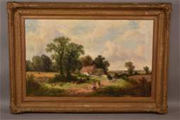 19TH C. J.E. MEADOWS RUSTIC FARM SCENE PAINTING