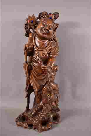 CARVED WOOD CHINESE FIGURE