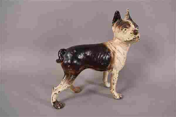 ANTIQUE CAST IRON BOSTON TERRIER DOG DOORSTOP