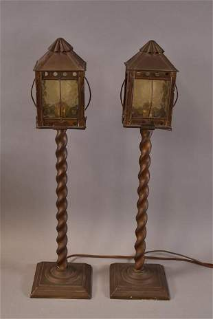1930'S PAIR OF BRASS LANTERN LAMPS