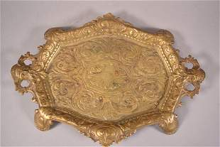 19TH CENTURY BRONZE FOOTED TRAY WITH HANDLES