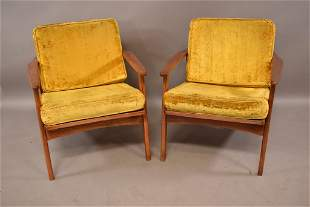PAIR OF MID CENTURY DANISH STYLE LOUNGE CHAIRS