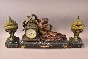 1900'S FRENCH 3 PIECE FIGURAL CLOCK SET