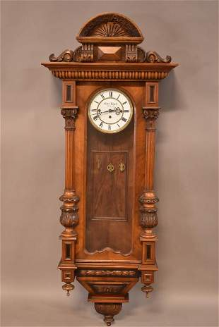 HIGHLY CARVED AUSTRIAN 3 WEIGHT WALL CLOCK