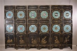 19TH C CHINESE LACQUERED & CLOISONNE SCREEN