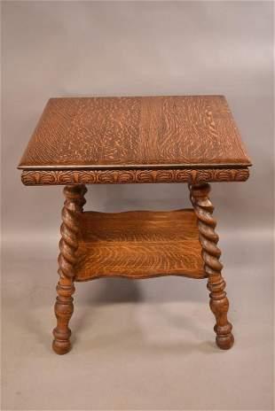 LARGE 1900'S AMERICAN OAK BARLEY TWIST LAMP TABLE