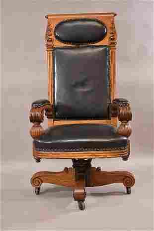 ORNATE 1900'S AMERICAN OAK EXECUTIVE DESK CHAIR