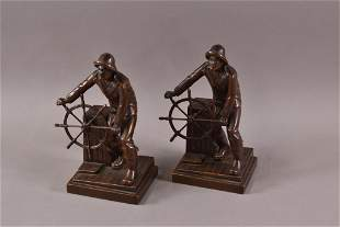 PAIR OF SAILOR BOOKENDS BY JENNINGS BROS