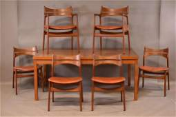 DANISH MID CENTURY MODERN DINING TABLE & 6 CHAIRS